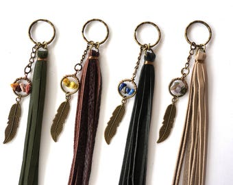 Boho Feather Keychain - Boho Leather Tassel Keychain - Hippie Keychain - Bohemian Feather Keyring - Gemstone Chip Keychain - Feather Charm