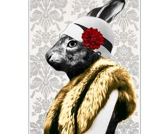 Rabbit Print, Rabbit Art Print, Rabbit Bunny Print, Rabbit Art, Bunny Print, Rabbit Wall Art, 8x10,Red, Women, Miss, Lady,  Rabbit Artwork