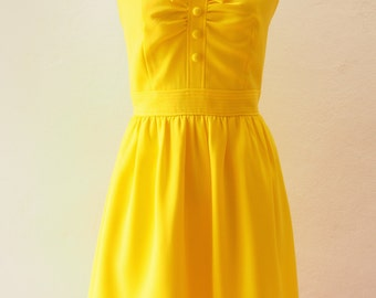 Lemon Dress Canary Yellow Dress Yellow Summer Dress Sundress Bridesmaid Dress Fit and Flare Vintage Style Dress Fancy Party Dress