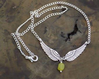 Archangel Raphael Inspired Necklace, Jade Necklace, Angel Necklace, Gemstone Necklace, Angel Wing Necklace, Silver Necklace.