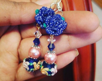 Floral Lampwork Earrings-Cobalt Blue