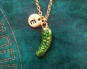 Pickle Necklace VERY SMALL Pickle Jewelry Green Pickle Charm Necklace Enamel Pickle Pendant Necklace Food Necklace Initial Jewelry Food Gift