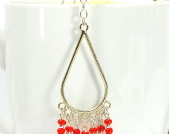 Boho Hair Beads Red Hair Charm 4 inch Hair Dangle Gypsy Hair Jewelry Snap Clip or U Pin