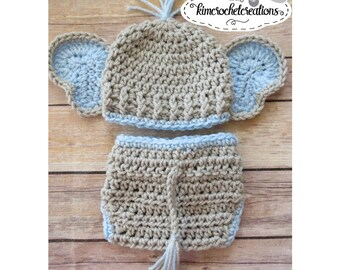 Crochet BOY Elephant Hat, Diaper Cover w/ Tail, Animal hat, Photo Props, Shower Gift, Preemie, Newborn to 12 mo, bringing home baby boy