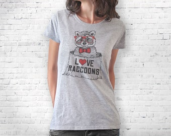 Raccoon T-shirt-raccoons Women's T-shirt-funny animal T-shirt-wildlife T-shirt-raccoon tank top-men tees-women tees-tee-NATURA PICTA-NPTS034