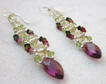 Long gemstone earrings, tourmaline quartz peridot stone dangle earrings, luxurious sterling silver earrings, beaded multi gemstone earrings