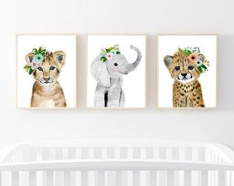 Safari babies nursery set, Animal Paintings, elephant, lion, cheetah, watercolor animal, kids poster, baby girl nursery art, nursery art