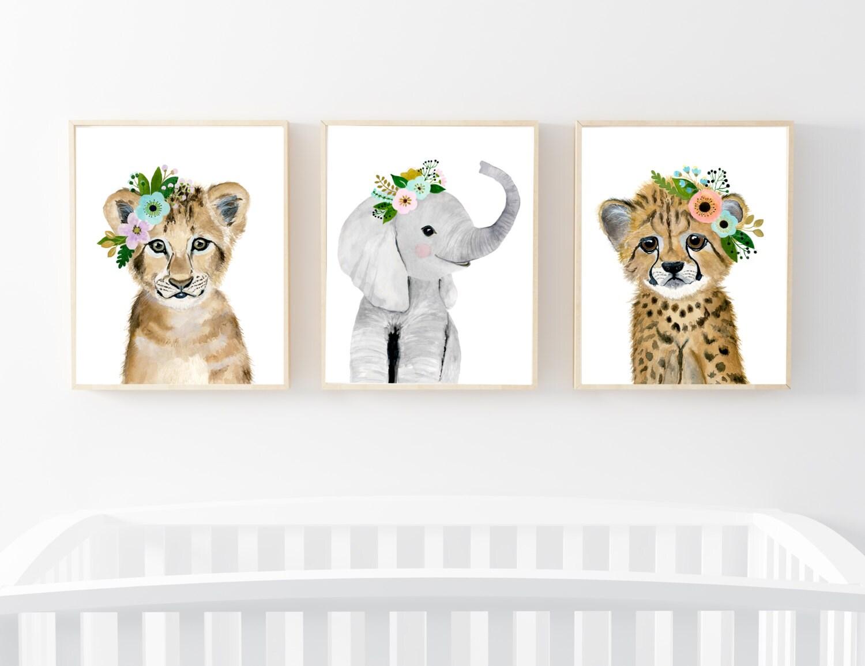 safari babies nursery set animal paintings elephant lion. Black Bedroom Furniture Sets. Home Design Ideas