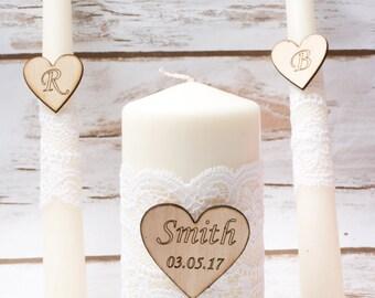 Wedding Unity Candle Set Rustic Unity Candle Set White Lace Wedding Church Ceremony Personalized Ivory Candles