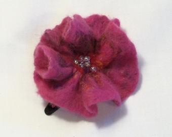 Needle Felted Flower -  Hair Clip - Barrette - Felt Flower - Needlefelt Flower - Rose - Burgundy Flower - Floral Hair Clip - Gift for Her