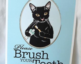 Brush Your Teeth Black Cat - 8x10 Eco-friendly Print