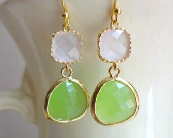 Gorgeous Peridot Green and Soft Pink Glass Dangle Earrings. Color Block Earrings. Bridesmaid Earrings. Wedding Earrings. Gold Peridot