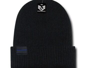 Thin Blue Line US American Flag Label Warm Cuff Folded Beanie Hat (R96-TBL)