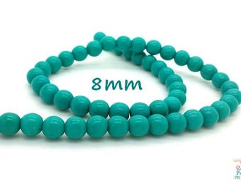 50 beads 8mm turquoise Howlite (ph112)