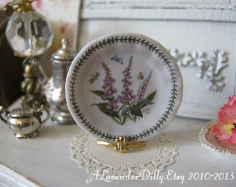 Botanical Foxglove Plate for Dollhouse