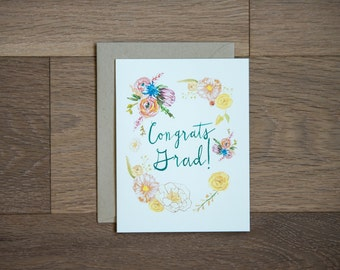 Graduation card - congrats grad - floral - lettering - congratulations