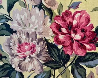 Vintage Barkcloth Curtains // 1940s Cabbage Rose Print Yellow Barkcloth Curtains // Midcentury Drapes // 2 Panels