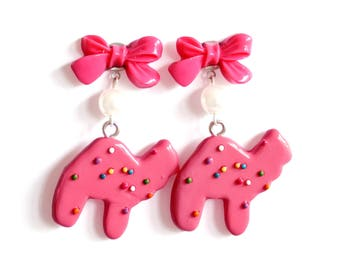 Pink Animal Cookie Earrings With Bows Rockabilly Pin Up Earrings Kawaii Frosted Animal Cookie Charms Kitsch Jewelry