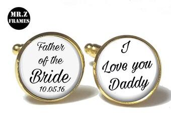 Father Of The Bride Cufflinks, Personalized Cufflinks, Wedding Cuff links, Custom Cufflinks, Photo Cufflinks, I Love Daddy, Gift For Dad