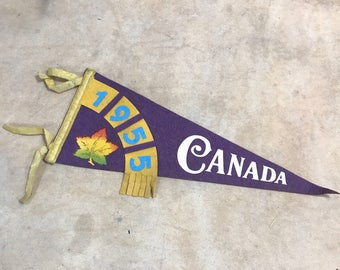 Vintage Souvenir Pennant Canada 1955 1950s // Blue Yellow Felt Flag Maple Leaf