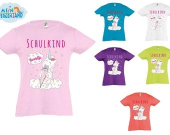 Schulanfang T-Shirt für Kinder Schulkind mit Name Unicorn Einhorn cutie Schultüte Zuckertüte