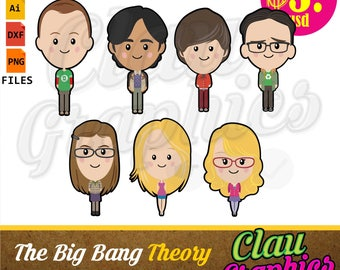 The Big Bang Theory Digital Collection, SVG patterns, DXF files, PNG images and editable file, cute patterns for all your projects