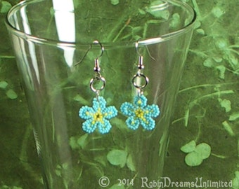 For-get-me-not Light Blue Bead Weave Earrings
