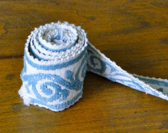 Light Blue and White Scroll Vintage Trim - One Yard