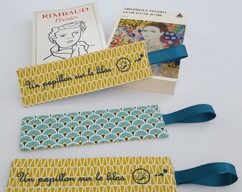 Bookmark in yellow, blue and white fabric - handmade
