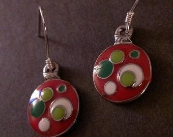 Red & Green Christmas Ball Earrings - Sterling Silver