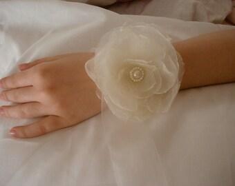 Ivory flower wrist corsage, Wedding wrist cuff, Handmade Fabric Flower wrist corsage, Rose Wrist corsage