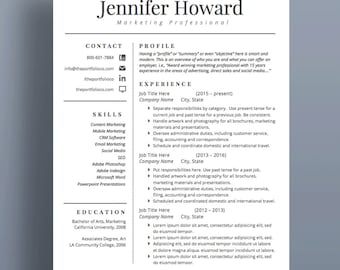 "Professional Resume Template | CV and Cover Letter | Modern Resume Designs | Mac or PC | Fully Customizable (""Silverlake"")"