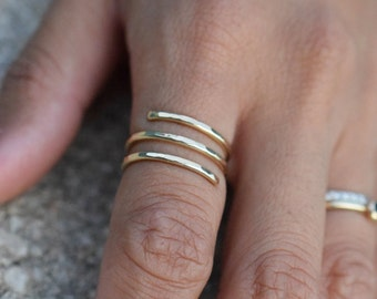 Wrap Ring • Sterling Silver Rose Gold Filled Statement Ring • Unique Textured Adjustable Gift for Her