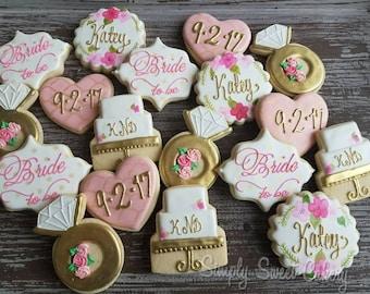Floral bridal shower cookies (24 cookies)