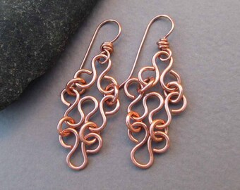 On Sale : Copper Filigree Earrings Metal Lace Dangle Earrings Artisan Handmade Modern Jewelry Seventh / 7th Anniversary Gift Jewelry