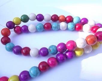 52 round beads smooth howlite 8 mm VYANA-204
