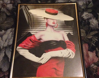 Vintage 1980s Framed Glamourous Woman Art Print