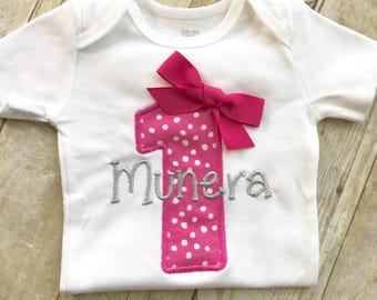 Polka dot first birthday outfit, 1st  birthday - Polka dot - Baby Girl - 1st Birthday Girl - Pink and Silver