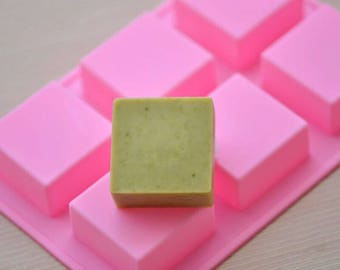 Flexible Silicone Soap Molds Candle Making Molds Chocolate Molds - 6x50g Square Bar