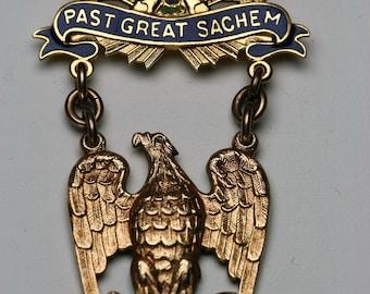 Vintage 10k and Enamel Fraternal Pin - Past Great Sachem- Improved Order of Red Men