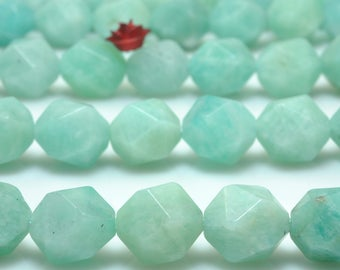 37 Pcs of Natural Amazonite faceted nugget beads in 10 mm (06619#)