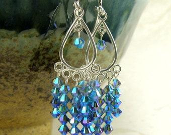 Sapphire Chandelier Earrings, Blue Swarovski Crystal, Sterling Silver Hoop, Statement Jewelry, September Birthday Birthstone New Years Eve