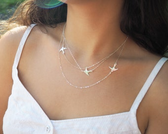Sterling Silver Flying Birds Necklace, Three Layered Necklace, Available in Sterling Silver, Gold Filled and Rose Gold Vermeil
