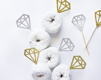 Diamond Cupcake Toppers, Engagement Party, Wedding Decor, Bridal Shower Cupcake, Donut, Engagement Topper, Wedding Cupcakes, Donut Topper,