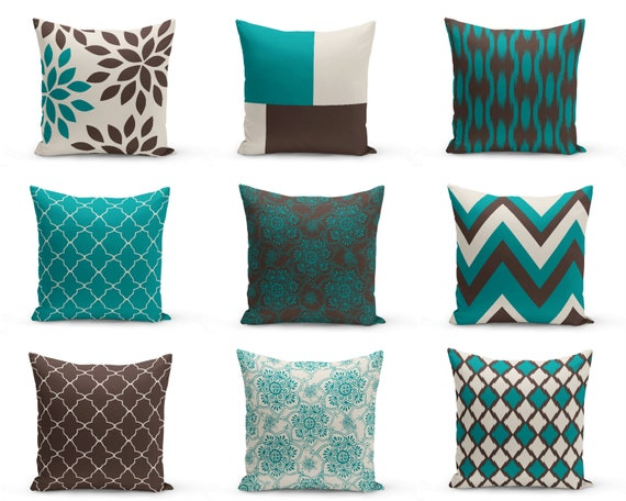 Teal Brown Pillows Pillow Covers Teal Chocolate Beige Home