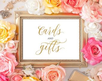 Wedding Cards and Gifts Sign 5x7 Gold Glitter Calligraphy Cards and Gifts Sign DIY Wedding Printable Image Digital INSTANT DOWNLOAD 300dpi