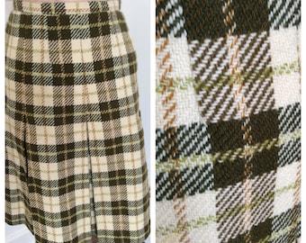 1960s autumn winter weight green cream pleated plaid skirt – sz M-L