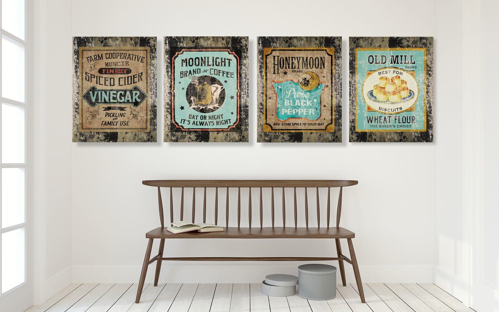 Teal Farmhouse Kitchen Decor Country Decor Rustic Wall Art