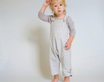 Gender Neutral Baby Outfit Unisex Baby Romper Toddler Overalls Baby Girl Romper Baby Boy Romper Unisex Romper Harem Romper Grey Check Plaid