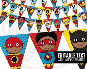 African American Superhero Banner - Comic Book Theme Editable Bunting Banner. Printable Baby Shower- Birthday Garland. Superheroes Decor